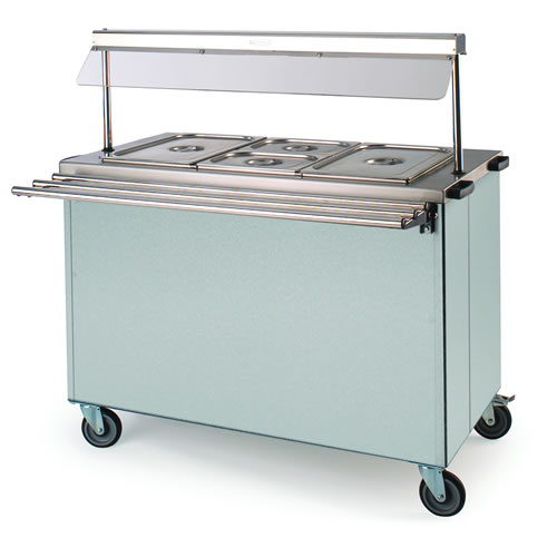 Portable bain marie with gantry and hot cupboard under, 3FBMD