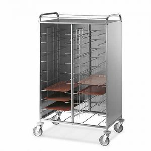 Tray Collection Trolleys with Stainless Steel Panels on three sides, model 1476U