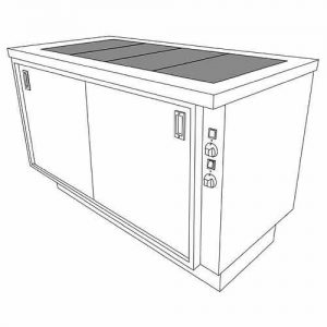 Heavy Duty Hot Cupboard with ceramic glass heated top, model MHT15