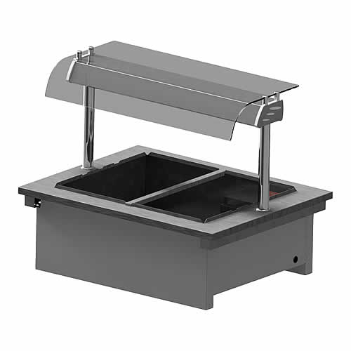 Dry heat drop-in bain marie with curved glass and open front, model D2BM