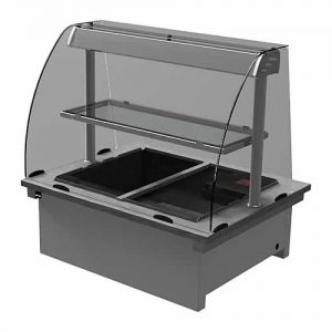 Drop-in dry heat bain-marie with curved glass and shelf, model D2BMD