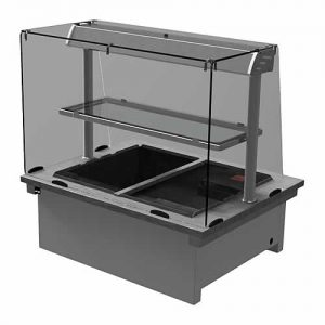 Drop-in dry heat bain-marie with square glass, model D2BMDSL