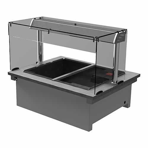 Drop-in dry heat bain-marie with square glass and open front, model D2BMSL