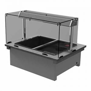 Drop-in dry heat bain-marie with square glass and closed front, model D2BMSLF