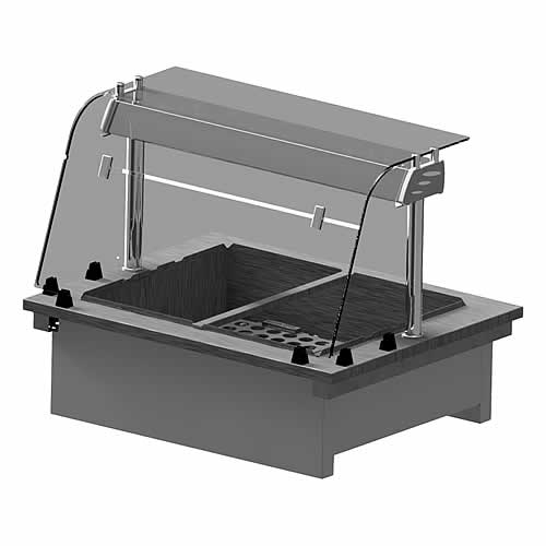 Drop-in wet heat bainmarie with Curved Glass Closed Front, model D2BMWF