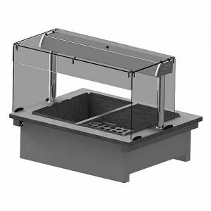 Drop-in wet heat bainmarie with Square Glass Open Front, model D2BMWSL