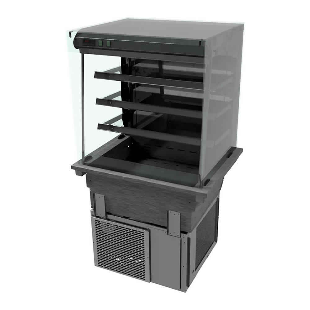 Drop-in refrigerated display with Square Glass and Open Front, model D2RDSLFC