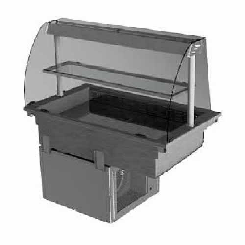 Drop-in refrigerated well curved glass deli, model D2RWD