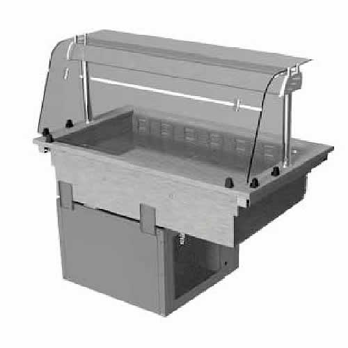 Drop-in refrigerated well with curved glass and closed front, model D2RWF