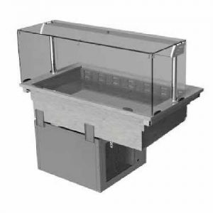 Drop-in refrigerated well with square glass and closed front, model D2RWSLF