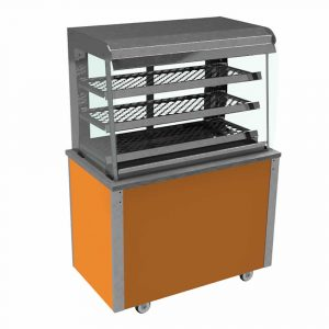 Grab and Go Ambient Display square glass type, open front with LED illumination and rear sliding doors, model VC3GASL