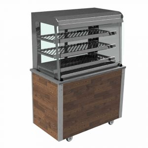 Grab and Go Ambient Display square glass type, closed front with LED illumination and rear sliding doors, model VC3GASLF