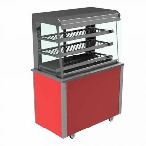 Grab and Go Display Heated Curved glass type, open front with LED illumination and rear sliding doors, model VC3GH