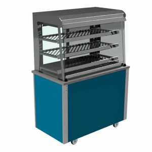 Grab and Go Display Heated Curved glass type, closed front with LED illumination and rear sliding doors, model VC3GHF