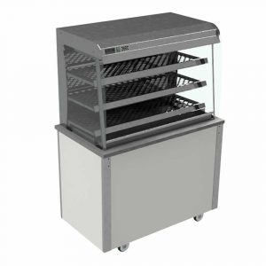 Grab and Go Display Heated Curved glass type, open front with LED illumination and solid back, model VC3GHFC