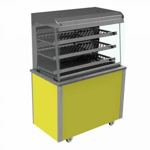 Grab and Go Display Heated Square glass type, open front with LED illumination and closed back, model VC3GHSLFC