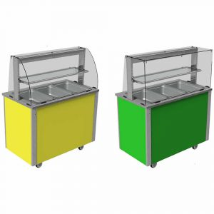 Deli curved or square glass type quartz heated and illuminated gantries, with closed front (models VC3QGD and VC3QGDSL)