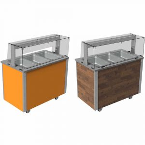 Square glass type quartz heated and illuminated gantries, with open or closed front (models VC3QGSL and VC3QGSLF)