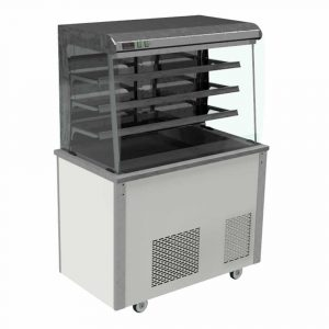 Refrigerated display with curved glass, open front with solid back and front controls, model VC3RDFC