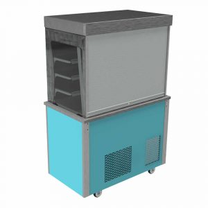 Refrigerated display with lockable roller shutter with front controls and a solid back, model VC3RDSAFC