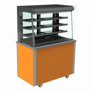 Refrigerated display with square glass, open front with LED illumination and rear sliding doors, model VC3RDSL