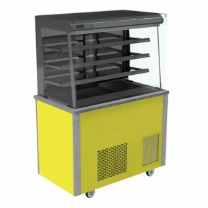 Refrigerated display with square glass, open front with LED illumination, front controls and solid back, model VC3RDSLFC