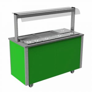 Carvery Station, curved glass type, open front with quartz heated and illuminated gantry, model VC4CS