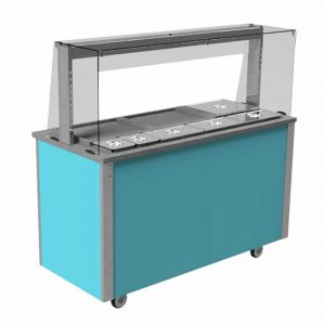 Carvery Station, square glass type, open front with quartz heated and illuminated gantry, model VC4CSSL