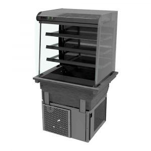 3 shelf drop-in refrigerated display with curved glass and front controls (back to wall), model D2RDFC