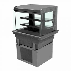 2 shelf drop-in refrigerated display with curved glass and open front, model D2RDL