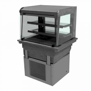 2 shelf drop-in refrigerated display with curved glass and closed front, model D2RDLF