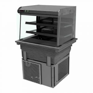 2 shelf drop-in refrigerated display with curved glass and front control (solid back), model D2RDLFC