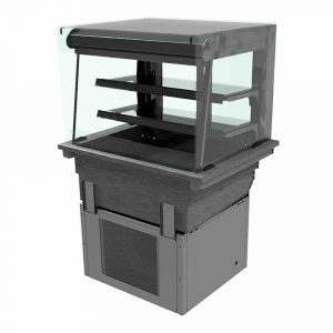2 shelf drop-in refrigerated display with square glass and open front, model D2RDLSL