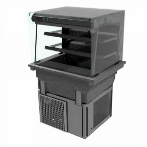 2 shelf drop-in refrigerated display with square glass and front control (solid back), model D2RDLSLFC