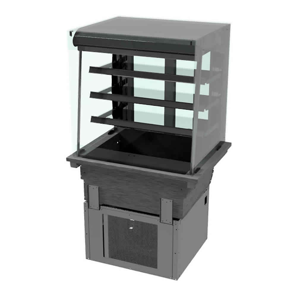 3 shelf drop-in refrigerated display with square glass and open front, model D2RDSL