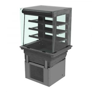 3 shelf drop-in refrigerated display with square glass and closed front, model D2RDSLF